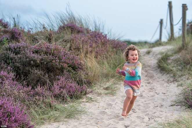Sarah Gibson's image of a young girl smiling as she runs across a sand dune inKnoll Beach, Studland, Dorset. The image was another of the finalists