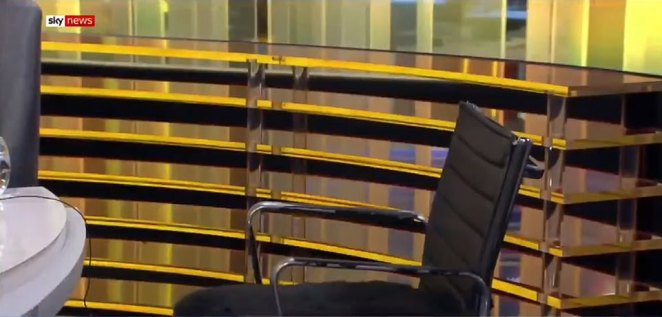 'There is an empty chair here. It was supposed to be filled by the chairman of the Conservative Party,' Ms Burley told viewers