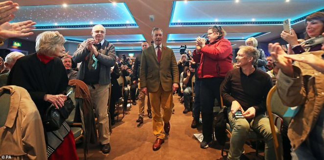 The Brexit Party leader (pictured in Workington today) said worried so-called Spartans were calling him and party chairman Richard Tice 'every single day'