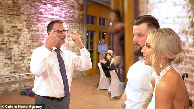 Both the bride and groom got emotional when they saw her father perform the song via sign language