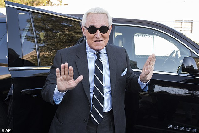 Low-key entrance: Roger Stone has eschewed his trademark channeling of Richard Nixon after a gag order was imposed by Judge Amy Berman Jackson