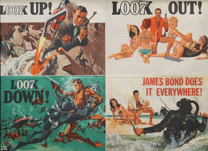 The nearly 500 posters ended up fetching a total sum of £227,500. Pictured: A UK Quad Advance Poster for the 1965 James Bond film Thunderball that had an estimate of £10,000-£12,000