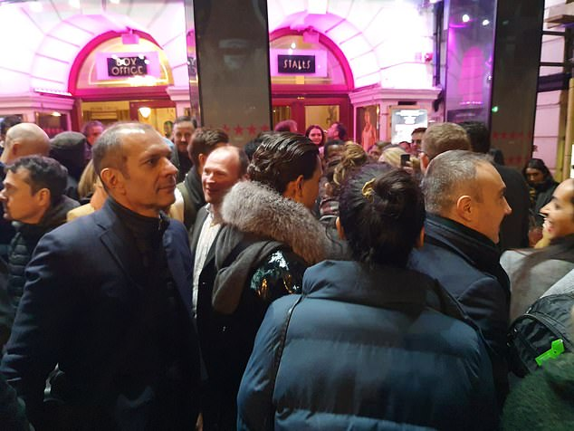 The cast of the show, which recently transferred from the Young Vic to the Piccadilly Theatre (pictured the audience tonight after the auditorium evacuated) apologised after the performance had to be cancelled