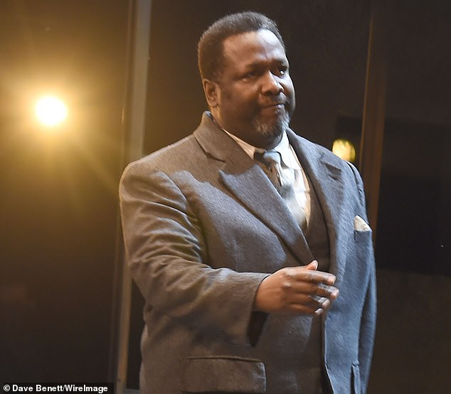 Actor Wendell Pierce bowing at the curtain call during the press night performance of Death Of A Salesman on Monday night, which passed off without the ceiling collapsing. He apologised to the audience after tonight's performance was cancelled after 20 minutes