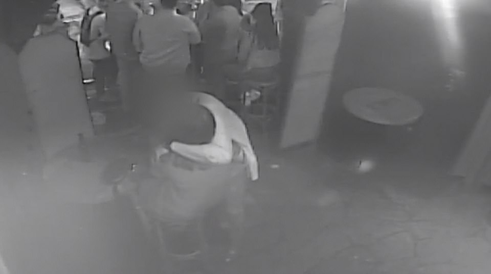8.45pm: Three hours after their first meeting Miss Millane and the defendant are shown kissing repeatedly in Auckland's Bluestone Bar, where her alleged killer was drinking before the date