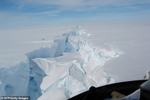 Photo courtesy of the Australian Antarctic Division shows a 'loose tooth' - or rift in the ice - on the Amery Ice Shelf in eastern Antarctica