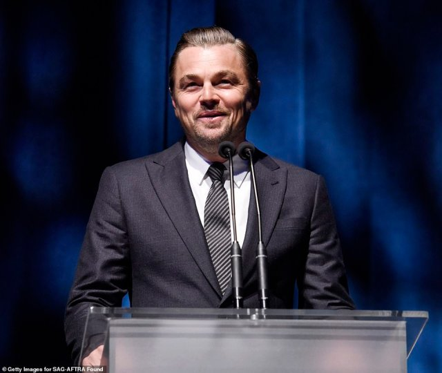 A-lister: Leonardo DiCaprio put in appearance, taking the stage to deliver some remarks