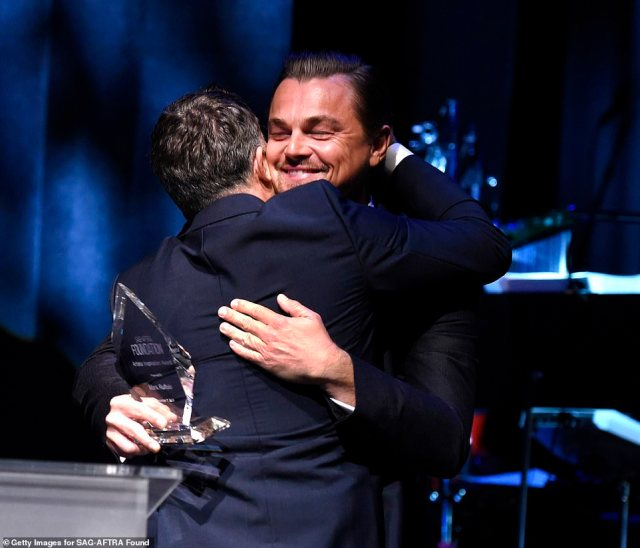 Pals: DiCaprio, a past recipient of the same award, was there to present Ruffalo with his trophy. The two starred together in 2010's film Shutter Island