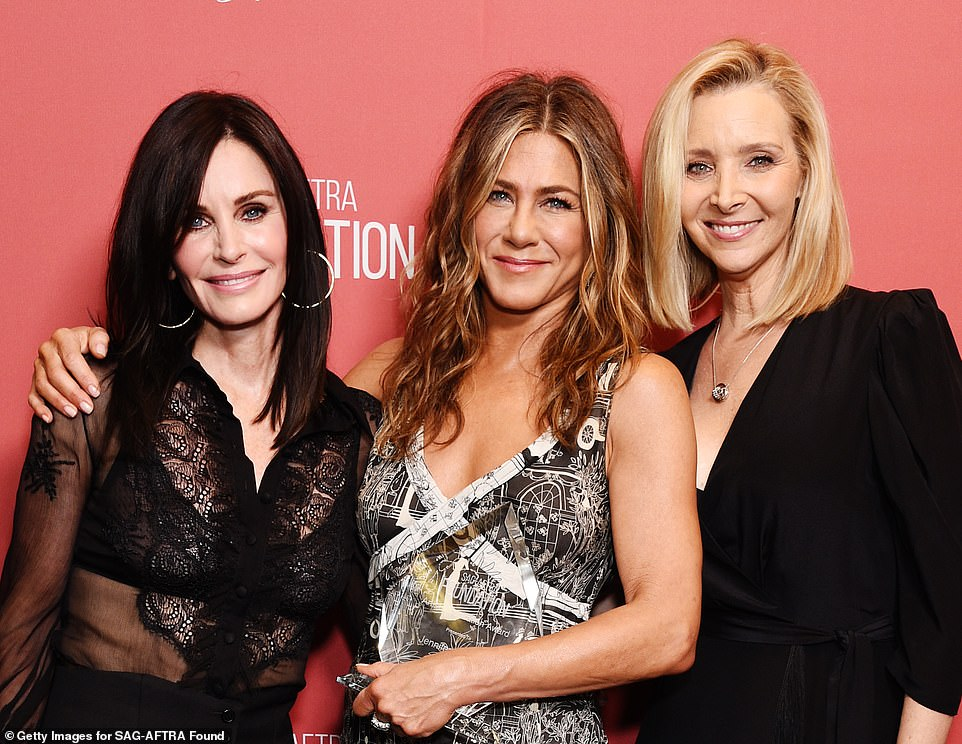 Close: The three Friends stars posed up a storm together in a rare red carpet reunion