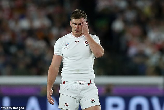 Farrell looked flat out on the grass after missing a tackle and watching Kolbe score the final try