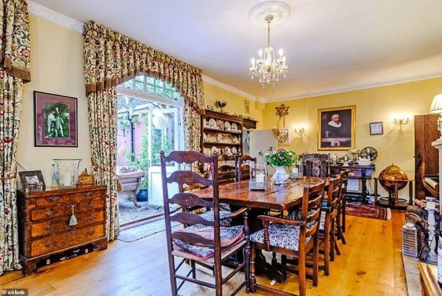 In the morning guests will be treated to a full English breakfast, served in the dining room of the main wing of the house (pictured)