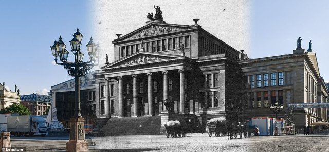 Under raising political pressure, on the evening of the 9th November 1989, a government representative announced that East Germans would be free to travel into West Germany starting immediately and the border was opened. Pictured: Gendarmenmarkt then and now