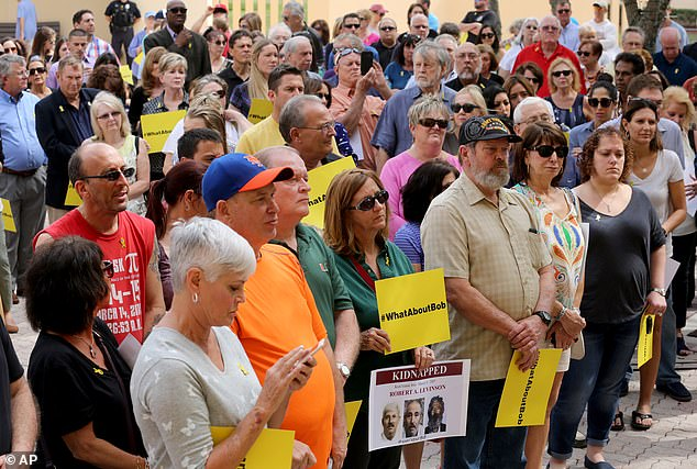 Supporters gather during a rally for Robert Levinson in Florida in 2016. At that time, family members expressed disappointmentthat he wasn't part of a January prisoner exchange with Tehran