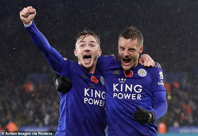 Maddison and Jamie Vardy are delirious at a rain soaked King Power as Leicester go second