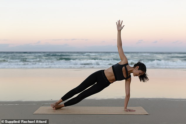 Generally, Rachael (pictured working out) said she recommends 2-3 high intensity cardio sessions, and three days of resistance training with one rest day
