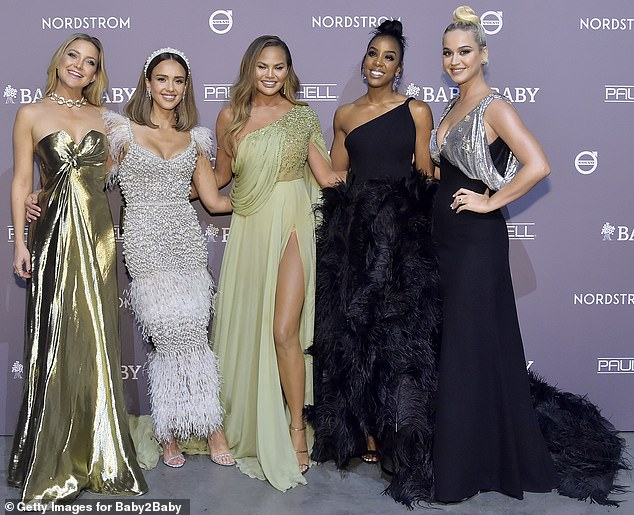 Quintet: Katy stood for a dazzling group that was once filmed with prominent mothers (from left) such as Kate Hudson, Jessica Alba, Chrissy Teigen and Kelly Rowland