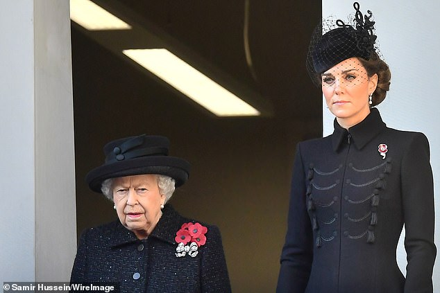 Queen Elizabeth II and Catherine, Duchess of Cambridge, attend the annual memorial Sunday in Cenotaph