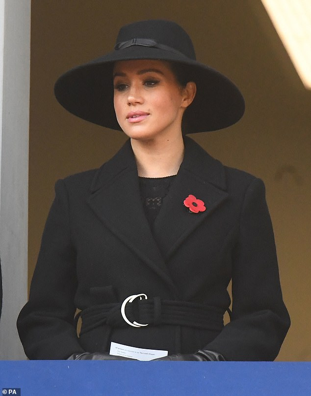 The Duchess of Sussex during the Sunday service at the Cenotaph Memorial in Whitehall