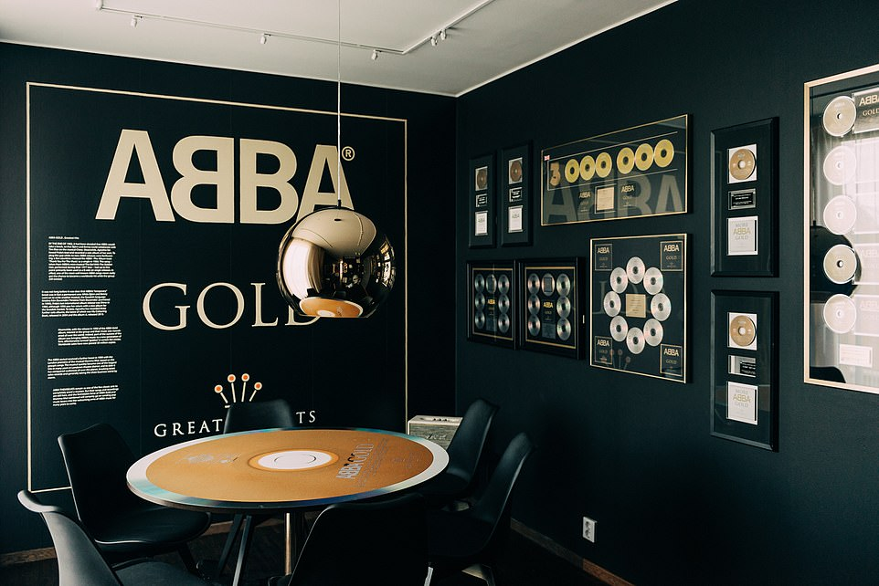 Nathan and his husband stayed in the ABBA Gold room at the Pop House Hotel in Sweden (pictured)