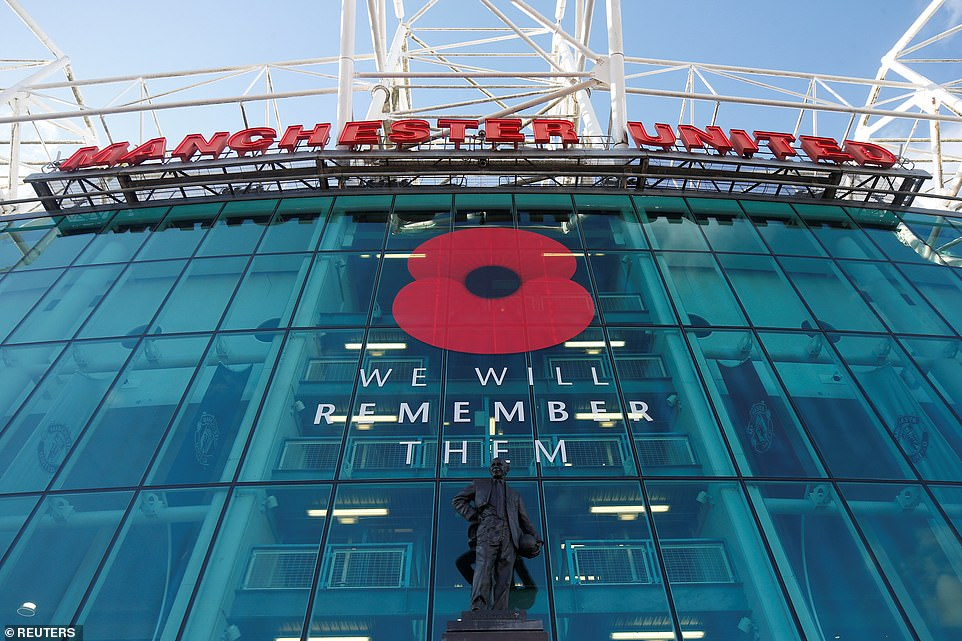 Manchester United'sOld Trafford stadium displayed a large poppy tribute as part of the remembrance commemorations before their match againstBrighton & Hove Albion