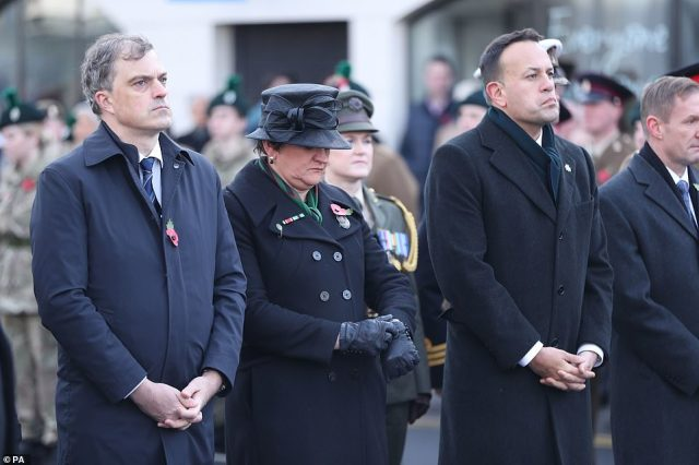 Northern Ireland Secretary Julian Smith was joined by DUP leader Arlene Foster and Irish Taoiseach Leo Varadkat at the Cenotaph inEnniskillen,County Fermanagh where the 1987 IRA bombing of a Remembrance Sunday parade killed 12 people