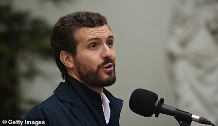 Pablo Casado makes a statement before casting his vote in Spain's general election today