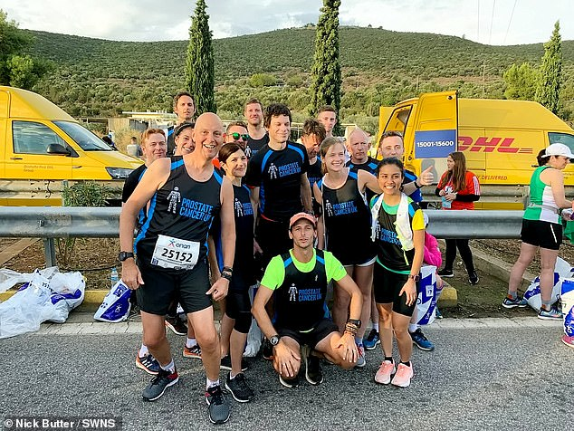 He stands in a group of people wearing Prostate Cancer UK vests in Athens, as he embarks on theAuthentic Marathon in Greece's capital.Since setting off on his travels, he has raised a further £63,000 for Prostate Cancer UK on his Just Giving page as well as about £20,000 in external donations