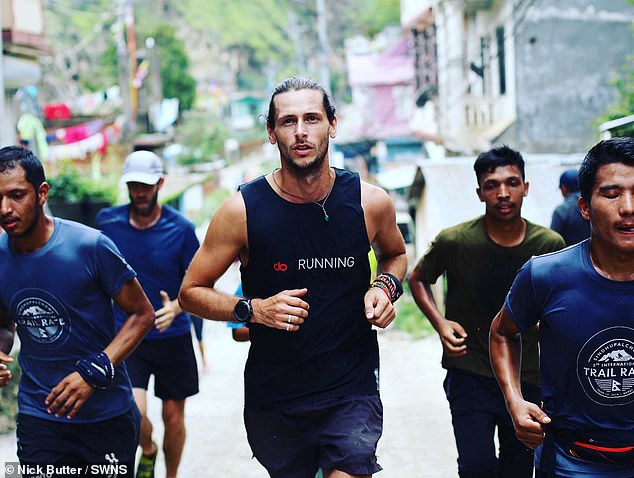 He is pictured running in Nepal and believes 'the idea of teaching kids about things like a Nepalese prayer wheel is just amazing'. The former banker has two books planned to be released in 2020 and a 1,000 day running expedition in the pipeline for 2021