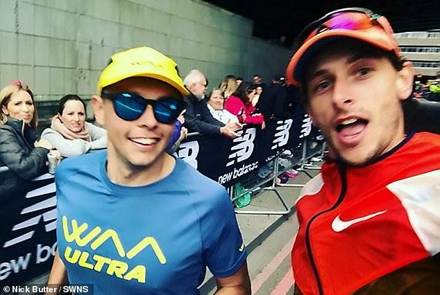 The athlete, from Dorset, snaps a quick selfie during the London Marathon in April this year