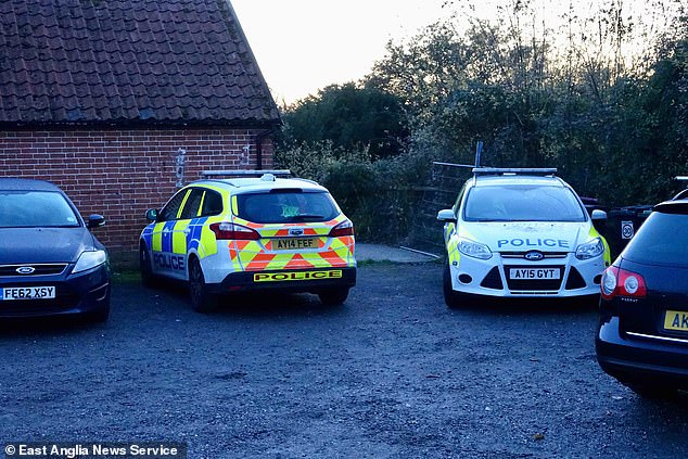 Police outside the historic Magpie pub at Little Stonham, Suffolk, where a woman aged in her 40s died early today