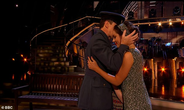 'Powerful': Opening up the special episode, professionals Amy, 28, and Anton, 53, led a routine dance to Cyndi Lauper's hit single Time After Time