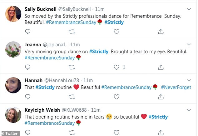 'That opening routine has me in tears': Fans were overwhelmed with emotion as they were impressed by the BBC show's moving performance for Remembrance Day
