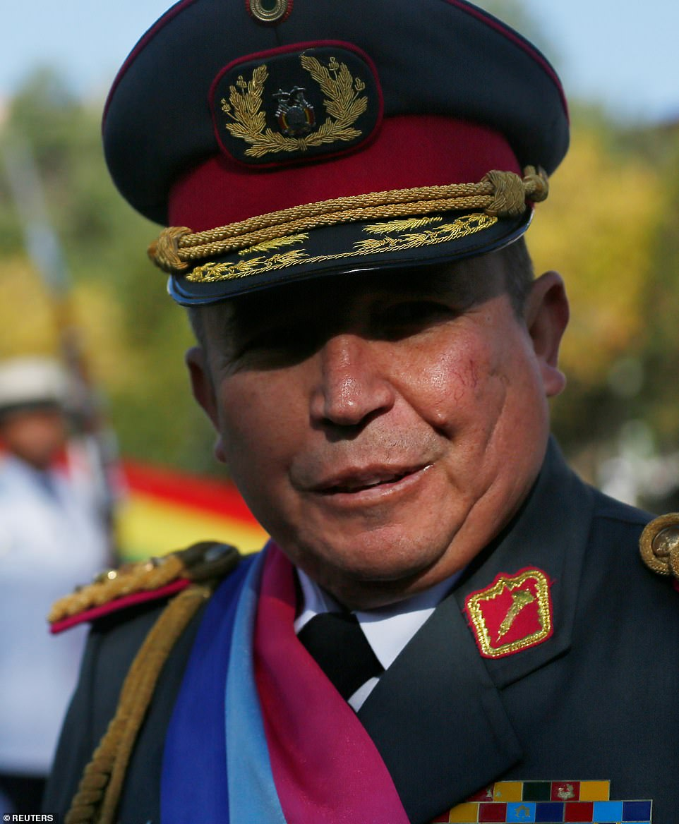 General WIlliams Kaliman said on national television that the military's chiefs wanted now former Persident Evo Morales gone to restore 'peace and stability and for the good of our Bolivia'.