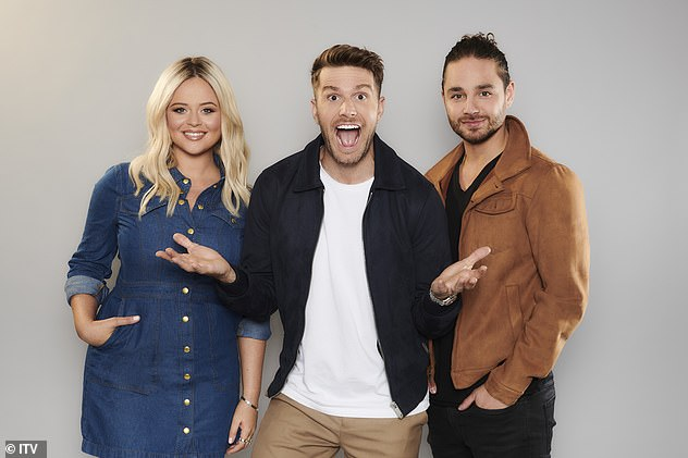 New formation: it was confirmed that Emily Atack will replace Scarlett Moffatt in Extra Camp, I join back host Joel Dommett (center) and newcomer Adam Thomas (right)