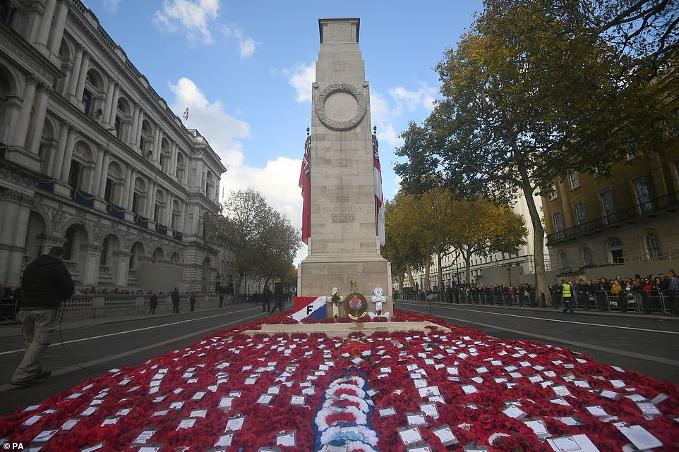 For Her Majesty, it remains as poignant as ever. Hence, the tear gently making its way down the royal cheek yesterday as she led the nation in tribute to all those who have made the ultimate sacrifice for their country. The Cenotaph memorial is pictured above after the service