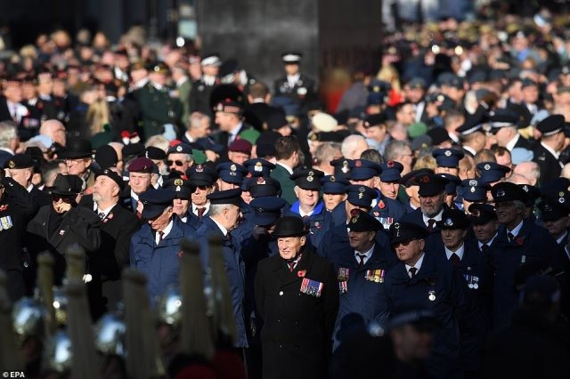 Buglers of the Royal Marines will sound the Last Post before wreaths are laid at the Cenotaph by members of the royal family, politicians, foreign representatives and senior armed forces personnel. War veterans and members of the military are pictured above