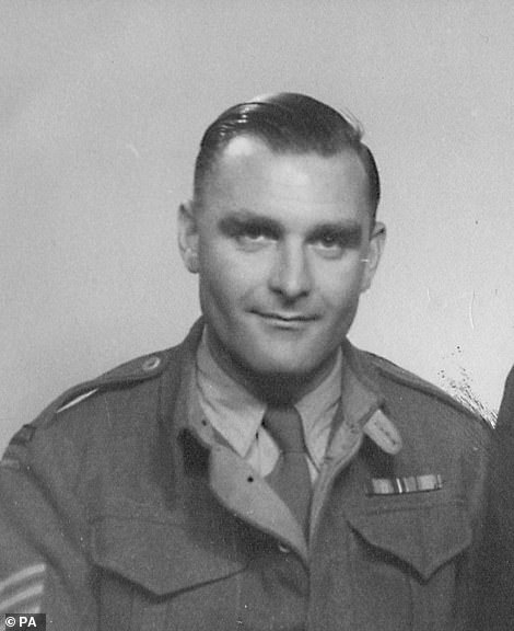 Ron Freer, of Kent, is pictured above during the war.Following the service, around 10,000 veterans marched past the war memorial, including World War Two veteran Ron Freer