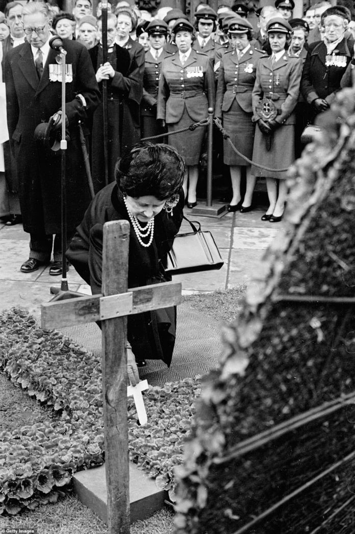 The Queen Mother imagines laying down a miniature cross in front of Westminster Abbey on commemoration day 1965 to commemorate the dead of the war