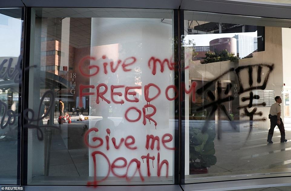 A view of graffiti at Hong Kong Polytechnic University in Hong Kong on Monday