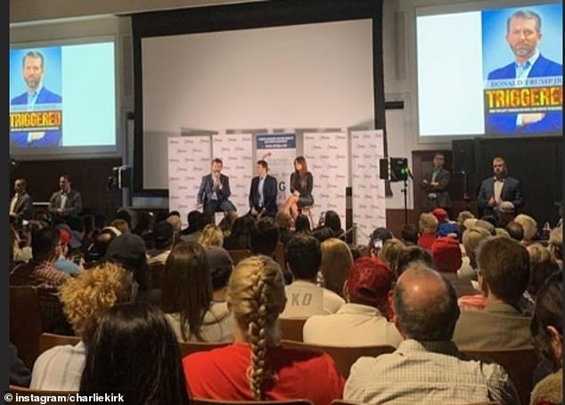 A large crowd turned out to see Trump Jr. and Guilfoyle; a source close to the president's eldest son said they spoke for more than the allotted hour and only left the stage when white nationalist protesters demanded a platform with a Q&A session