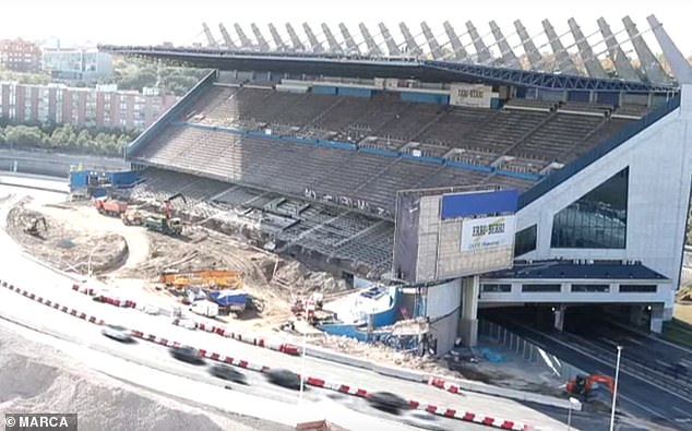 The cost of demolishing the old site of Atletico Madrid has so far reached 40 million pounds