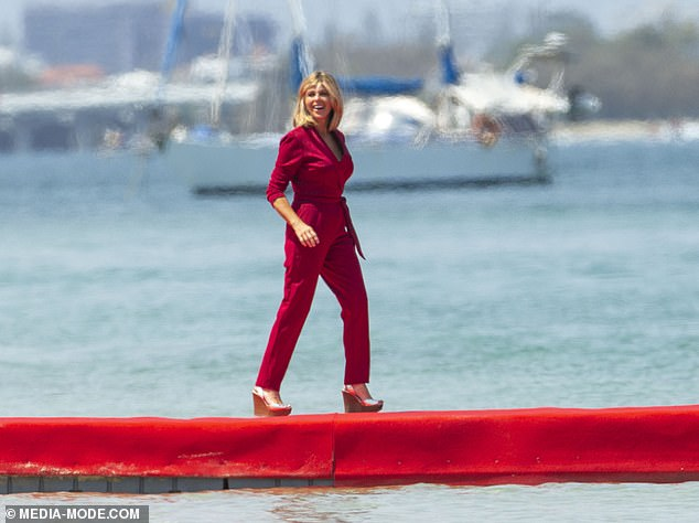 Wow:Kate Garraway looked sensational as she showed off her two stone weight loss during I'm A Celebrity filming on the Gold Coast, in Australia, on Thursday