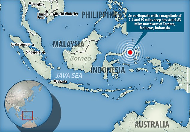 An earthquake with a magnitude of 7.4 has struck 83 miles northwest of Ternate, Moluccas, Indonesia , the U.S. Geological Survey said