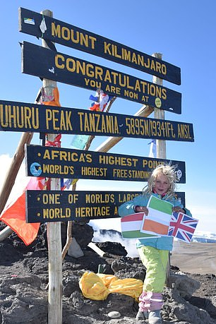 Record Breaker:Ashleen Mandrick at the top ofMount Kilimanjaro in Africa