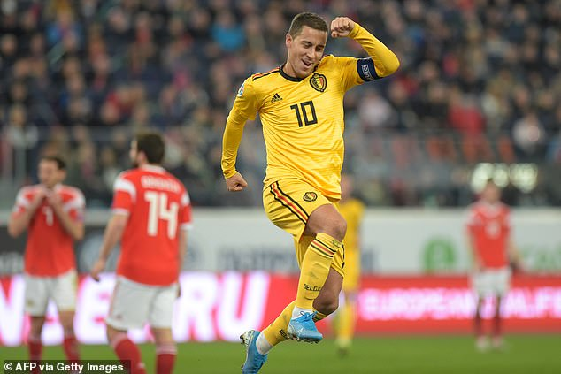 Eden Hazard celebrates after finding the net in Belgium's 4-0 success away to Russia