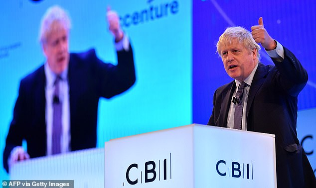 Corporation tax was due to fall from 19 per cent to 17 per cent next year. But Mr Johnson said postponing the shift now was the 'fiscally responsible' thing to do