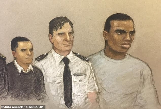 A court sketch shows Isaacs (left) and Ong-a-Kwie (right) being sentenced today