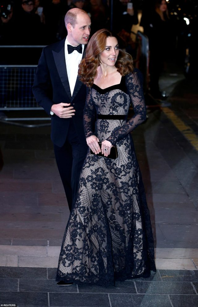 The Duke and Duchess of Cambridge complimented each other perfectly as they arrived at the star-studded event both wearing black attire