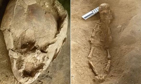 Znalezione obrazy dla zapytania 2 infants were buried wearing helmets made