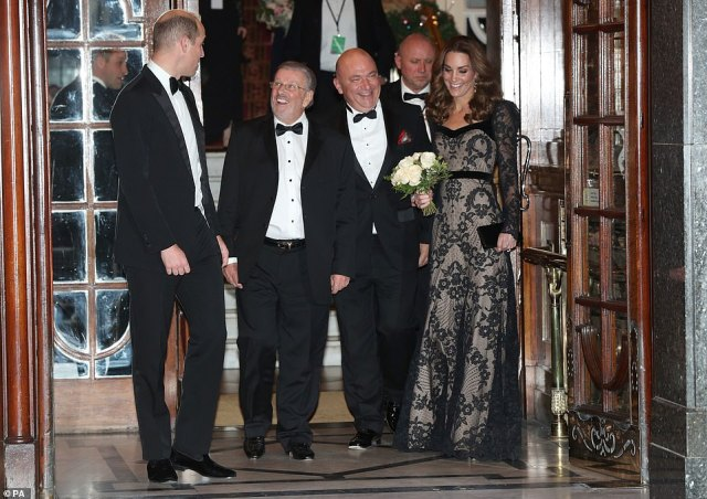 The Duke and Duchess of Cambridge leave the London Palladium in London after attending the Royal Variety Performance